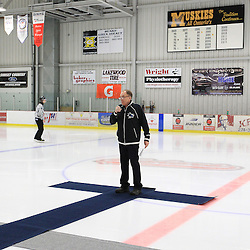 FORT FRANCES, ON - Apr 28, 2015 : Central Canadian Junior &quot;A&quot; Championship, game action between theToronto Patriots and the Fort Francis Lakers, game two of the Dudley Hewitt Cup. Fort Frances Lakers Dudley Hewitt Cup Chairman Larry Patrick during a special opening ceremony.<br /> (Photo by Tim Bates / OJHL Images)