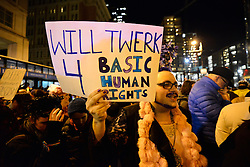 """Hundreds are gathered to protest the proposed policies of the Donald Trump administration, outside the Republican gathering of US Representatives, in Philadelphia, Pennsylvania, on January 25th, 2017. On Thursday President Donald Trump and UK Prime Minister Theresa May are expected to join republicans gathered for a """"Congress of Tomorrow"""" Joint Republican Issues Conference."""