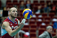 Nikolay Pavlov from Russia in action during the 2013 CEV VELUX Volleyball European Championship match between Russia v Slovakia at Ergo Arena in Gdansk on September 24, 2013.<br /> <br /> Poland, Gdansk, September 24, 2013<br /> <br /> Picture also available in RAW (NEF) or TIFF format on special request.<br /> <br /> For editorial use only. Any commercial or promotional use requires permission.<br /> <br /> Mandatory credit:<br /> Photo by © Adam Nurkiewicz / Mediasport