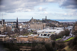 The Wallace Monument, The Balmoral Hotel and Calton Hill, Edinburgh as seen from the Edinburgh Castle Esplanade.