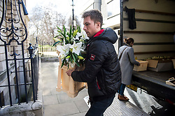 © Licensed to London News Pictures. 04/03/2016. London, UK.  Flowers arrive at Spencer house in London ahead of an evening reception tomorrow night for the wedding of Rupert Murdoch and Jerry Hall, which took place today in central London. The couple, who announced their engagement in January, had a private ceremony today, with a public service expected at Fleet Street's St Bride's Church on Saturday. Photo credit: Ben Cawthra/LNP