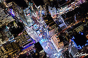Aerial view of Times Square in New York City, photographed at night from a helicopter.