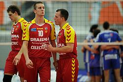 12-02-2011 VOLLEYBAL: AB GRONINGEN/LYCURGUS - DRAISMA DYNAMO: GRONINGEN<br /> In een bomvol Alfa-college Sportcentrum werd Dynamo met 3-2 (25-27, 23-25, 25-19, 25-23 en 16-14) verslagen door Lycurgus / Een balende 5. Jarik Niebeek, 6. Jasper Diefenbach en Niels Plinck<br /> ©2011-WWW.FOTOHOOGENDOORN.NL