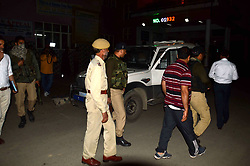 June 13, 2017 - Anantnag, Jammu & Kashmir, India - Militants on Tuesday evening attacked the policemen guarding the residence of Justice (retd.) Muzaffar Attar in Anantnag town of south Kashmir and decamped with four rifles.Two policemen were injured in the attack in Anchidora Anantnag. (Credit Image: © Muneeb Ul Islam/Pacific Press via ZUMA Wire)