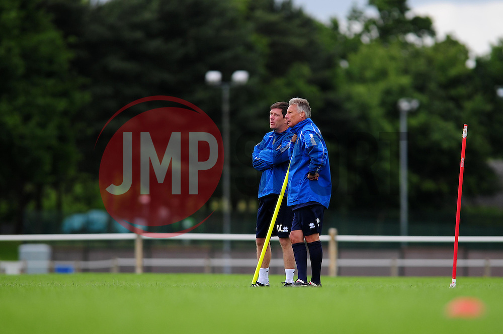 Bristol Rovers Manager, John Ward talks with Bristol Rovers assistant manager, Darrell Clarke - Photo mandatory by-line: Dougie Allward/JMP - Tel: Mobile: 07966 386802 24/06/2013 - SPORT - FOOTBALL - Bristol -  Bristol Rovers - Pre Season Training - Npower League Two