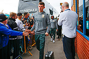 Leeds United goalkeeper Illan Meslier (1), on loan from Leyton Orient, arriving during the EFL Sky Bet Championship match between Leeds United and Brentford at Elland Road, Leeds, England on 21 August 2019.