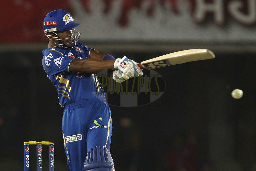 Lendl Simmons of the Mumbai Indians pulls a delivery through the leg side during match 48 of the Pepsi Indian Premier League Season 2014 between the Kings XI Punjab and the Mumbai Indians held at the Punjab Cricket Association Stadium, Mohali, India on the 21st May  2014<br /> <br /> Photo by Shaun Roy / IPL / SPORTZPICS<br /> <br /> <br /> <br /> Image use subject to terms and conditions which can be found here:  http://sportzpics.photoshelter.com/gallery/Pepsi-IPL-Image-terms-and-conditions/G00004VW1IVJ.gB0/C0000TScjhBM6ikg