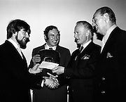 Apprentice Welder Of The Year. (F11).1973..25.05.1973..05.25.1973..25th May 1973..After a national contest to find the Apprentice Welder of the year sponsored by Oerlikon Electrodes ltd.,the winner was declared last night at a reception in the Shelbourne Hotel,St Stephens green,Dublin..Image shows Mr Henry Morris receiving his award and cheque,as apprentice welder of the year,from .Mr B G Cantwell,Director,Oerlikon Electrodes Ltd. included in the image are Mr John Doyle,Managing Director,Blackwater Engineering Co and Mr P J Crowley,Technical sales manager,Oerlikon Electrodes Ltd.