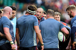 England Rugby Forwards coach Steve Borthwick speaks to his players during the pre-match warm-up - Mandatory byline: Patrick Khachfe/JMP - 07966 386802 - 26/11/2016 - RUGBY UNION - Twickenham Stadium - London, England - England v Argentina - Old Mutual Wealth Series.