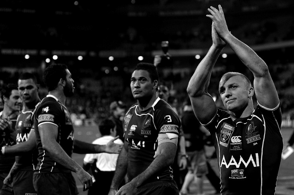 July 6th 2011: Maroons captain, Darren Lockyer thanks fans after game 3 of the 2011 State of Origin series at Suncorp Stadium in Brisbane, QLD, Australia on July 6, 2011. Photo by Matt Roberts / mattrimages.com.au / QRL