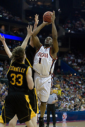 Virginia Cavaliers forward/guard Will Harris (1) shoots over Albany Great Danes forward Brian Connelly (33).  The #4 seed Virginia Cavaliers defeated the #13 seed Albany Great Danes 84-57 in the first round of the South Region Men's NCAA Tournament in Columbus, OH on March 16, 2007.