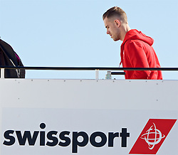 LIVERPOOL, ENGLAND - Monday, May 16, 2016: Liverpool's captain Jordan Henderson boards the team plane to Basel as they fly out of Liverpool John Lennon Airport to Switzerland ahead of the UEFA Europa League Final against Sevilla FC. (Pic by David Rawcliffe/Propaganda)