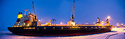 Icebreaker ship at night. Photographed in the arctic circle, Lapland Sweden