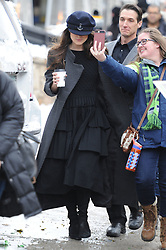 Kiera Knightly grabs a morning coffee wearing a Sailor's hat at Sundance. Kiera was spotted on Main St in Park City, Utah promoting her film 'Colette' which co stars domanic West. 21 Jan 2018 Pictured: Keira Knightley. Photo credit: Atlantic Images/ MEGA TheMegaAgency.com +1 888 505 6342