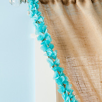 Burlap projects: Detail of trimmed burlap curtain