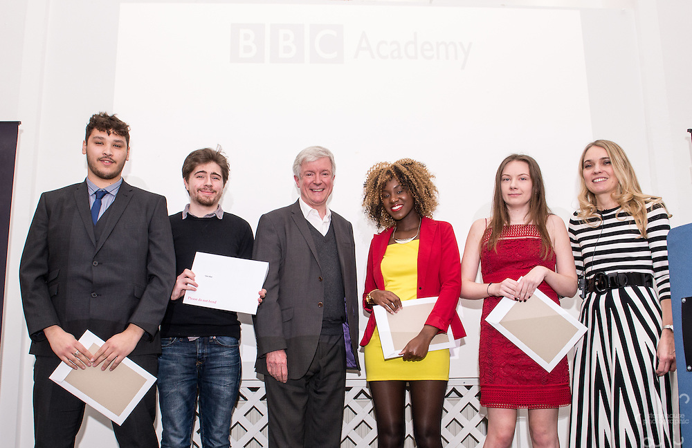 BBC DG Tony Hall and NCTJ Chief Executive Joanne Butcher percent certificates to students at the BBC Academy Local Apprenticeship Scheme Awards 2016 at The Custard Factory, Old Library, Birmingham, 24th, February.2016<br /> <br /> Sophie Brougham, Talisha Johnson, Tyler Allen, Tylor Boustead.