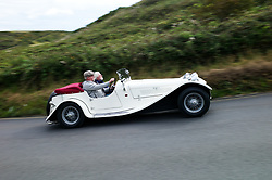 &copy; Licensed to London News Pictures. <br /> 10/09/2017 <br /> Saltburn by the Sea, UK.  <br /> <br /> An entrant takes part in the annual Saltburn by the Sea Historic Gathering and Hill Climb event. Organised by Middlesbrough and District Motor Club the event brings together owners of a wide range of classic cars and motorcycles dating from the early 1900's to 1975. Participants take part in a hill climb to test their machines up a steep hill near the town. Once held as a competitive gathering a change in road regulations forced the hill climb to become a non-competitive event.<br /> <br /> Photo credit: Ian Forsyth/LNP
