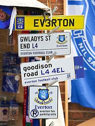Everton merchandise on sale outside Goodison Park  - Mandatory byline: Matt McNulty/JMP - 07966 386802 - 04/10/2015 - FOOTBALL - Goodison Park - Liverpool, England - Everton  v Liverpool - Barclays Premier League