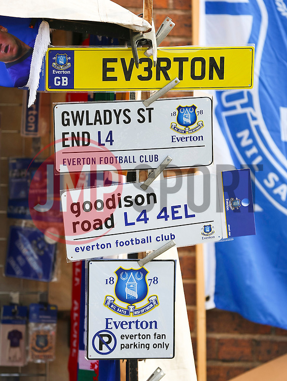 Everton merchandise on sale outside Goodison Park  - Mandatory byline: Matt McNulty/JMP - 07966 386802 - 04/10/2015 - FOOTBALL - Goodison Park - Liverpool, England - Everton  v Liverpool - Barclays Premier League