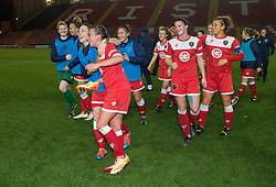 Bristol Academy Womens' Natasha Harding leads the celebrations as Bristol Academy win  - Photo mandatory by-line: Dougie Allward/JMP - Mobile: 07966 386802 - 13/11/2014 - SPORT - Football - Bristol - Ashton Gate - Bristol Academy Womens FC v FC Barcelona - Women's Champions League