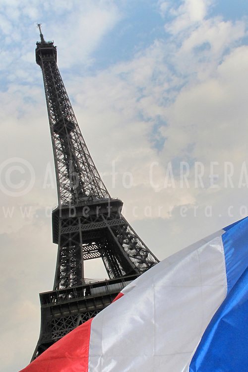 Alberto Carrera, Eiffel Tower and French Flag, Paris, France, Europe