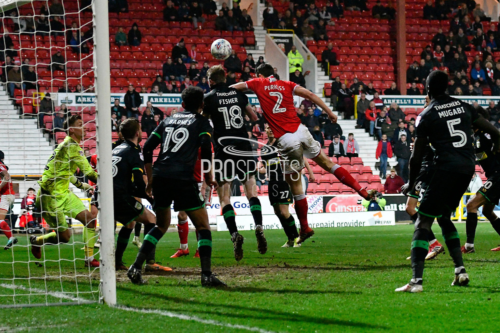 Yeovil Town defenders keep out a late effort from Ben Purkiss (2) of Swindon Town to hold on to a 2-2 draw during the EFL Sky Bet League 2 match between Swindon Town and Yeovil Town at the County Ground, Swindon, England on 10 April 2018. Picture by Graham Hunt.