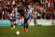 Matthew Bloomfield of Wycombe Wanderers on the attack during the EFL Sky Bet League 1 match between Wycombe Wanderers and Sunderland at Adams Park, High Wycombe, England on 19 October 2019.