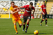 Ryan Flynn of St Mirren & Scott Pittman of Livingstone battle for the ball during the Ladbrokes Scottish Premiership match between Livingston and St Mirren at Tony Macaroni Arena, Livingstone, Scotland on 20 April 2019.