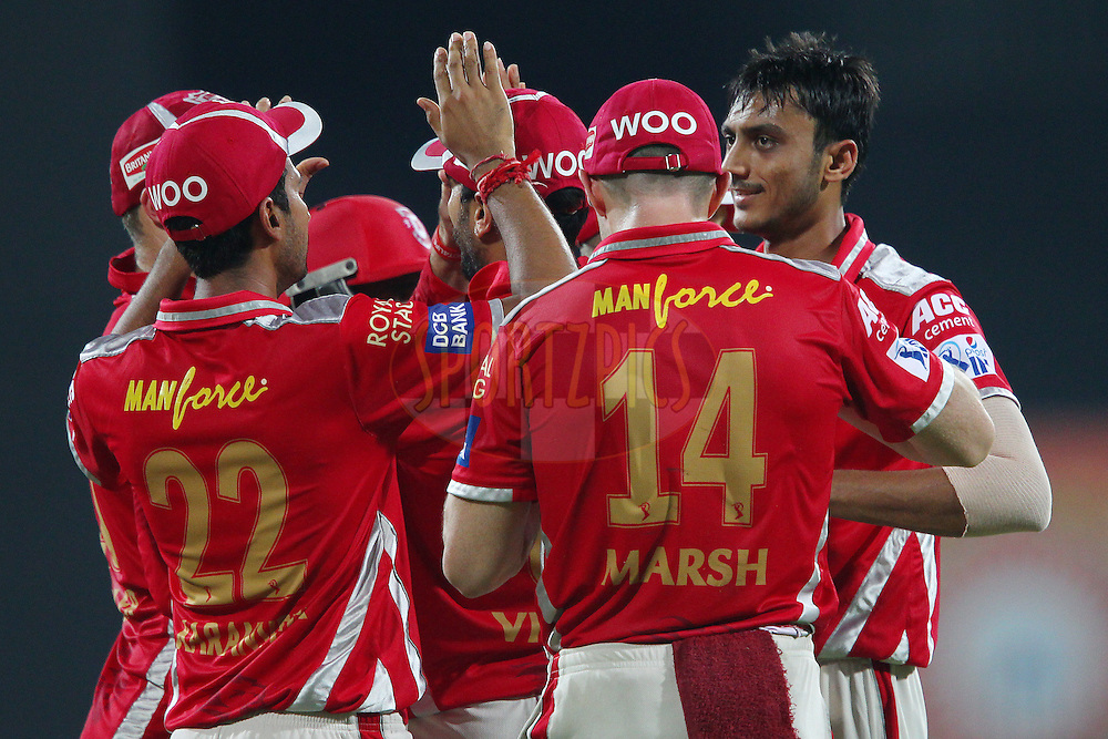 Akshar Patel of Kings XI Punjab celebrates the wicket of Brendon McCullum of the Chennai Superkings  during match 24 of the Pepsi IPL 2015 (Indian Premier League) between The Chennai Superkings and The Kings XI Punjab held at the M. A. Chidambaram Stadium, Chennai Stadium in Chennai, India on the 25th April 2015.<br /> <br /> Photo by:  Ron Gaunt / SPORTZPICS / IPL