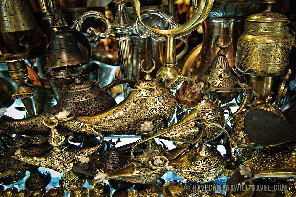 Traditional brass lamps for sale in Istanbul's historic Grand Bazaar