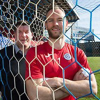 New Two Year Deal for Alan Mannus...06.04.15<br /> St Johnstone Manager Tommy Wright pictured at McDiarmid Park this morning with keeper Alan Mannus who has signed a new two year contract.<br /> Picture by Graeme Hart.<br /> Copyright Perthshire Picture Agency<br /> Tel: 01738 623350  Mobile: 07990 594431