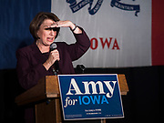 05 DECEMBER 2019 - DES MOINES, IOWA: US Senator AMY KLOBUCHAR (D-MN) looks out to the crowd during a campaign event in Des Moines. Sen. Klobuchar is campaigning to be the Democratic nominee for the US Presidency. Iowa holds the first selection event of the Presidential election cycle. The Iowa caucuses are Feb. 3, 2020.         PHOTO BY JACK KURTZ