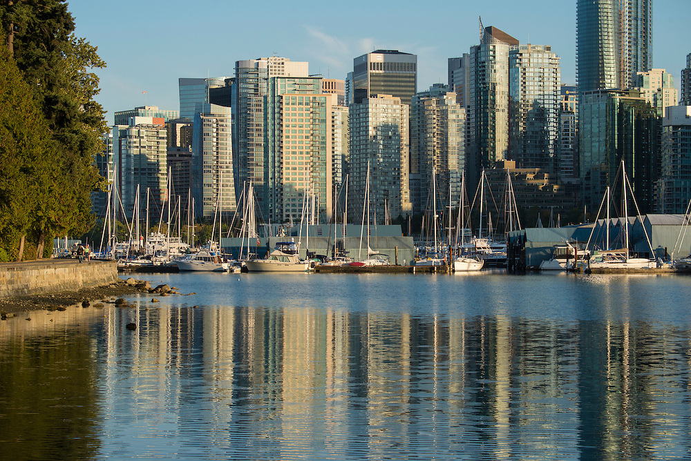 Canada, British Columbia, Vancouver  , boat harbor at Stanley Park with downtown
