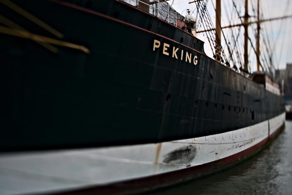 Steel hull of barque Peking at South Street Seaport, New York, NY, US