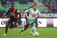 Fotball<br /> Frankrike<br /> 18.01.2015<br /> Foto: Panoramic/Digitalsport<br /> NORWAY ONLY<br /> <br /> Abdoulaye Doucoure (Rennes)<br /> Romain Hamouma (Saint Etienne)<br /> Rennes vs Saint Etienne - Ligue 1