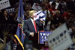 Republican presidential candidate Donald Trump takes the stage during a Nov. 4, 2016 rally in Hershey, in Central Pennsylvania, four days before the U.S. General Primary Elections.
