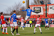 Rangers Connor Goldson headers clear during the Ladbrokes Scottish Premiership match between Hamilton Academical FC and Rangers at The Hope CBD Stadium, Hamilton, Scotland on 24 February 2019.