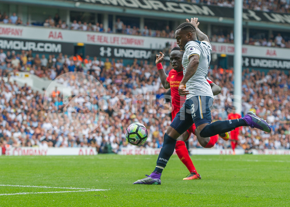 Danny Rose of Tottenham Hotspur scores the equalising goal during the Premier League match between Tottenham Hotspur and Liverpool at White Hart Lane, London, England on 27 August 2016. Photo by Vince  Mignott.