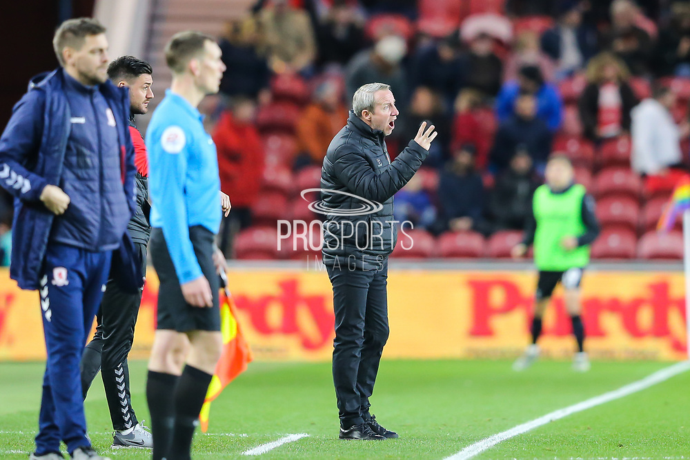Charlton Athletic Manager Lee Bowyer gestures during the EFL Sky Bet Championship match between Middlesbrough and Charlton Athletic at the Riverside Stadium, Middlesbrough, England on 7 December 2019.