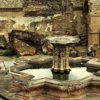 Central America, Guatemala, Antigua. Earthquake damaged courtyard in Antigua.