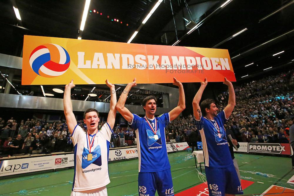 20160424 NED: Play off finale Abiant Lycurgus - Seesing Personeel Orion, Groningen<br />Just Dronkers (8), Wytze Kooistra (2), Dennis van der Veen (6) of Abiant Lycurgus