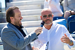 LIVERPOOL, ENGLAND - Sunday, June 24, 2018: Miguel Queipo, Amalia restaurant is interviewed by Radio City DJ Simon Greening during day four of the Williams BMW Liverpool International Tennis Tournament 2018 at Aigburth Cricket Club. (Pic by Paul Greenwood/Propaganda)