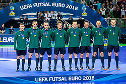 Referees during medal ceremony after the Final match of UEFA Futsal EURO 2018, on February 10, 2018 in Arena Stozice, Ljubljana, Slovenia. Photo by Ziga Zupan / Sportida
