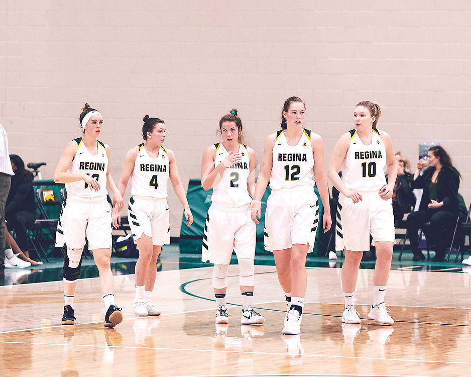 5th year forward, Christina McCusker (12) of the Regina Cougars during the Women's Basketball Home Game on Fri Nov 02 at Centre for Kinesiology,Health and Sport. Credit: Arthur Ward/Arthur Images