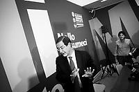 PALERMO, ITALY - 29 OCTOBER 2012: Candidate for Governor of Sicily Nello Musumeci, 57, gives a press conference at his electoral committee after his defeat against Rosario Crocetta who won the Sicilian regional elections, in Palermo, Italy, on October 29, 2012.<br /> <br /> A little over 47 percent of Sicily's eligible voters turned out in the Regional election of October 28th 2012, a record low, down from 67 percent in the 2008 elections. Backed by a coalition including the PD and the Union of Centrists, Rosario Crocetta won 30.4 percent, thus becoming the new Governor of Sicily. Nello Musumeci, supported by the People of Liberty and smaller parties, garnered 25.2 percent. No party or coalition on the ballot would get a majority in the 90-seat regional parliament, making it even more difficult to manage Sicily's finances.<br /> <br /> The election for the regional government in Sicily is a major test ahead of a national poll. ### PALERMO, ITALIA - 29 OTTOBRE 2012: Il candidato alla Presidenza della Regione Sicilia Nello Musumeci, 57 anni, tiene una conferenza stampa dopo la sconfitta contro Rosario Crocetta che ha vinto le elezioni regionali siciliane, a Palermo  il 29 ottobre 2012.<br /> <br /> L'affluenza alle urne per le elezioni regionali del 28 ottobre 2012 è stata poco più del 47%, un minimo storico sceso dal 67% delle elezioni del 2008. Sostenuto da una coalizione che comprende il PD e l'UdC, il candidato Rosario Crocetta ha vinto con il 30.4%, diventando così il nuovo governatore della Sicilia. Nello Musumeci, appoggiato dal PdlL e da alre liste minori, ha raccolto il 25.7% dei consensi. Nessun partito o coalizione otterrà la maggiorante nell'Assemblea Regionale Siciliana che conta 90 seggi, rendendo così ancora più difficile la governabilità della Regione.<br /> <br /> Le elezioni per l'Assemblea Regionale Siciliana rappresentano il banco di prova per le prossime elezioni politicue.