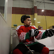Two Minute Penalty… Kristian Radovanov, Bulgaria..Expressions in the penalty box of players serving a two minute penalty during the 2012 IIHF Ice Hockey World Championships Division 3 contested by New Zealand, Iceland, Bulgaria, Turkey and China at Dunedin Ice Stadium. Dunedin, Otago, New Zealand. January 2012. Photo Tim Clayton