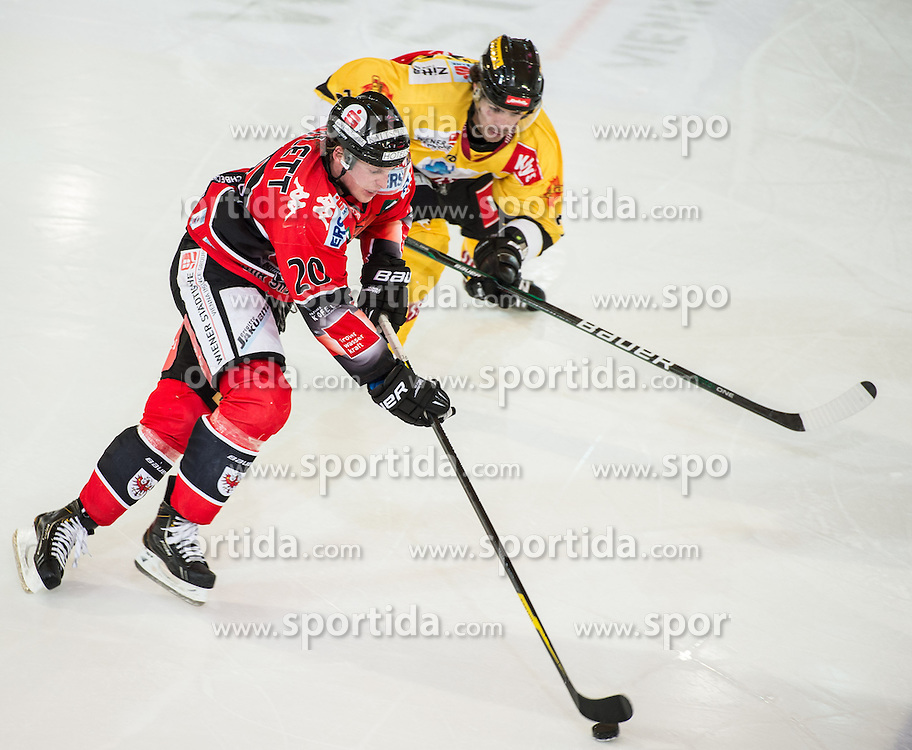4.11.2012, Tiroler Wasserkraft Arena, Innsbruck, AUT, EBEL, HC TWK Innsbruck vs UPC Vienna Capitals, 19. Runde, im Bild Mike Bartlett, (HC TWK Innsbruck, # 20) und Michael Schiechl, (UPC Vienna Capitals, #26) // during the Erste Bank Icehockey League 19th Round match between HC TWK Innsbruck and UPC Vienna Capitals at the Tiroler Wasserkraft Arena, Innsbruck, Austria on 2012/11/04. EXPA Pictures © 2012, PhotoCredit: EXPA/ Eric Fahrner