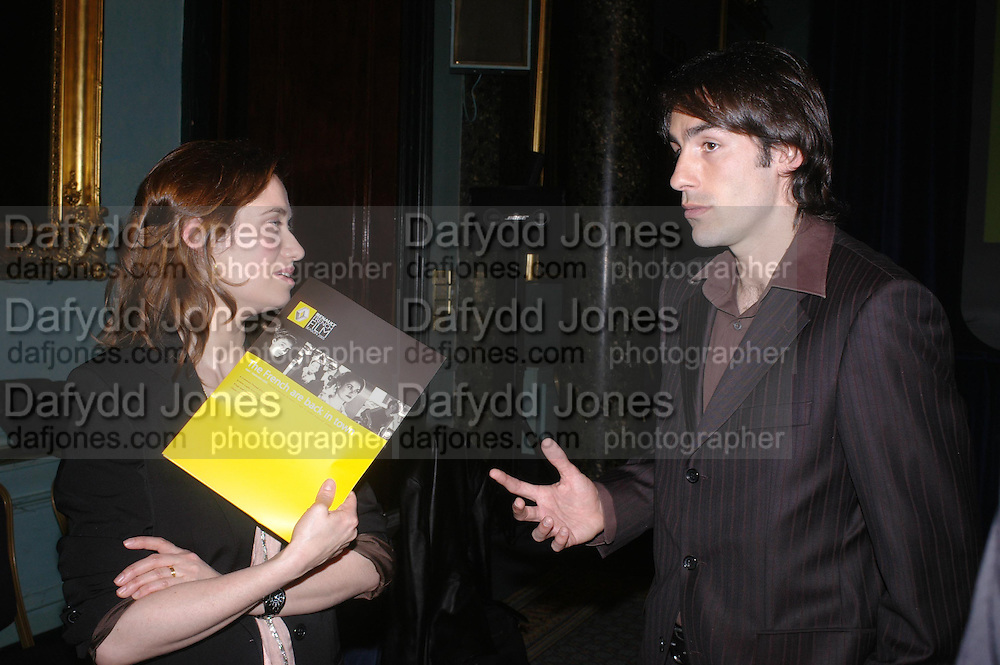 Emmanuelle Devos and  and Robert Piras. The Renault French Film season 2005 Press launch. Institute of Directors. 116 Pall Mall. London Sw1. 31 March 2005. ONE TIME USE ONLY - DO NOT ARCHIVE  © Copyright Photograph by Dafydd Jones 66 Stockwell Park Rd. London SW9 0DA Tel 020 7733 0108 www.dafjones.com