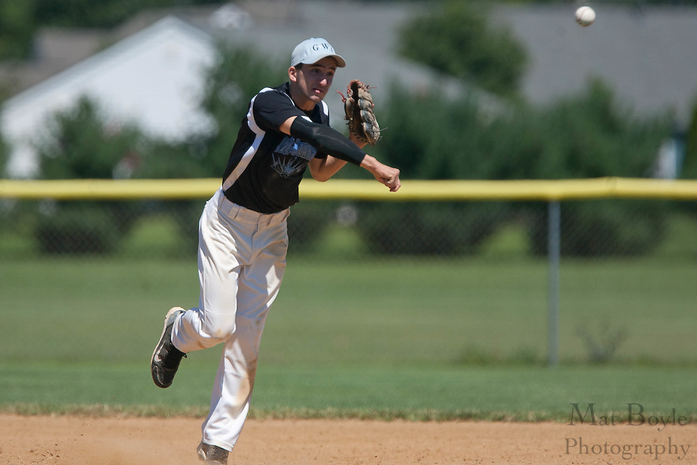 Pennsylvania's Jake Granteed throws the runner out at first to end the top of the 6th inning during the finals of the Eastern Regional Senior League tournament between Pennsylvania and Maryland held in West Deptford on Thursday, August 11.