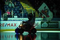 KELOWNA, CANADA - NOVEMBER 29: The silhouette of Rocky Raccoon, the mascot of the Kelowna Rockets on November 29, 2017 at Prospera Place in Kelowna, British Columbia, Canada.  (Photo by Marissa Baecker/Shoot the Breeze)  *** Local Caption ***